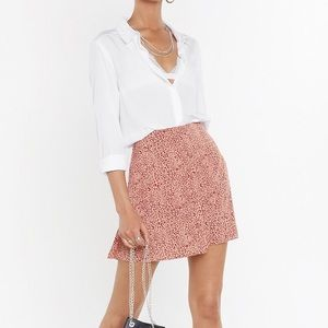 Animal Print Button Front Skirt